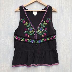 Anthropologie Maeve Carlotta embroidered tank M